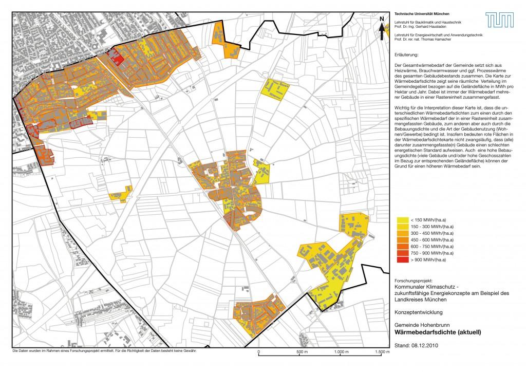 Karte 1 Wärmebedarf Hohenbrunn heute (2009/2010)
